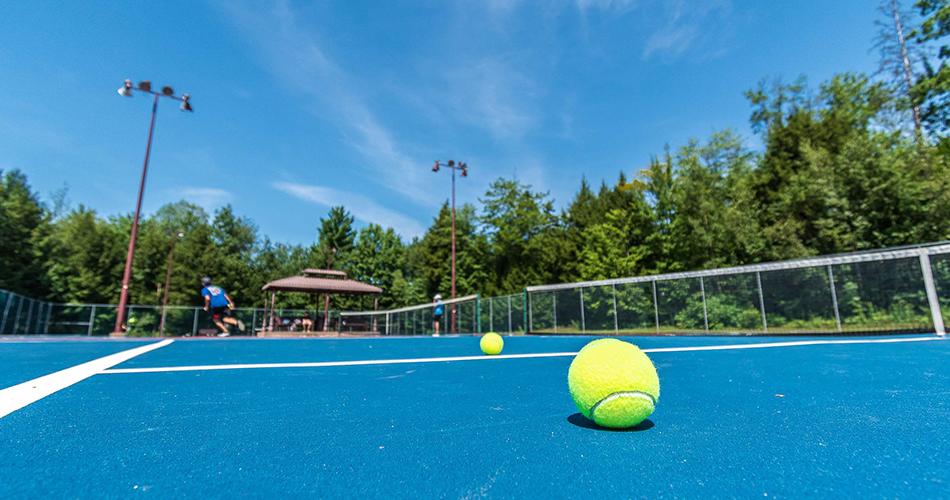 Balle sur un terrain de tennis du parc de Fontainebleau